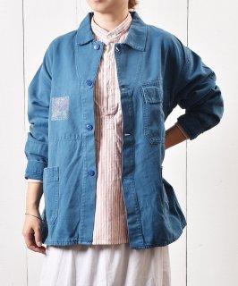 古着ユーロ ワークジャケット プリント ターコイズブルー 古着のネット通販 古着屋グレープフルーツムーン