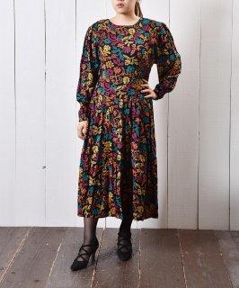 古着マルチカラー パフスリーブワンピース 古着のネット通販 古着屋グレープフルーツムーン