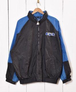 古着ナイロンジャケット 刺繍 ブルー×ブラック 古着のネット通販 古着屋グレープフルーツムーン