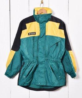 古着Columbia ナイロンジャケット ロング イエロー×グリーン 古着のネット通販 古着屋グレープフルーツムーン