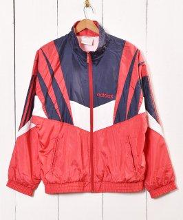 古着adidas ナイロンジャケット ネイビー×レッド 古着のネット通販 古着屋グレープフルーツムーン