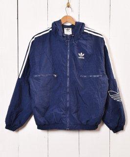 古着adidas ナイロンジャケット ライン&刺繍エンブレム 古着のネット通販 古着屋グレープフルーツムーン