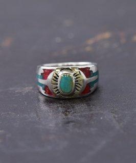 古着シルバーリング ネイティブ|Silver Ring Turquoise×Red Native Pattern 古着のネット通販 古着屋グレープフルーツムーン