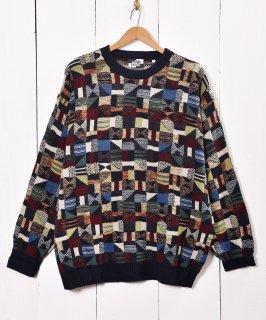 古着イタリア製 クレイジーパターン クルーネック セーター 古着のネット通販 古着屋グレープフルーツムーン