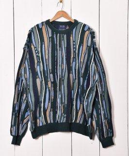 古着アメリカ製 3D マルチデザインニットセーター グリーン 古着のネット通販 古着屋グレープフルーツムーン