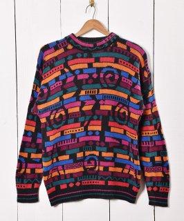 古着ラムニット マルチデザイン セーター 古着のネット通販 古着屋グレープフルーツムーン