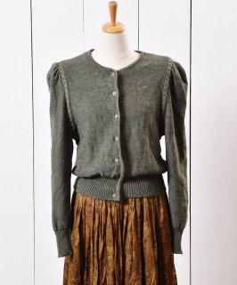 古着ヨーロッパ製 チロリアン ニット カーディガン カーキ 古着のネット通販 古着屋グレープフルーツムーン
