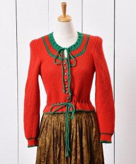 古着ヨーロッパ製 チロリアン ニット カーディガン レッド×グリーン 古着のネット通販 古着屋グレープフルーツムーン