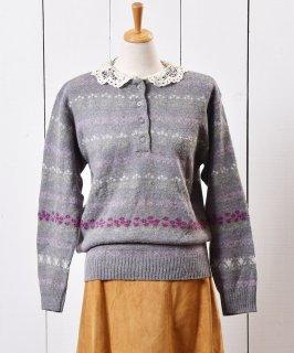 古着 レース襟 セーター フラワーライン 古着のネット通販 古着屋グレープフルーツムーン