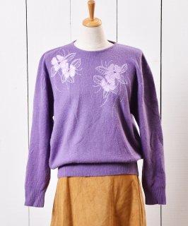 古着花刺繍 ラム&アンゴラ ウールセーター 古着のネット通販 古着屋グレープフルーツムーン