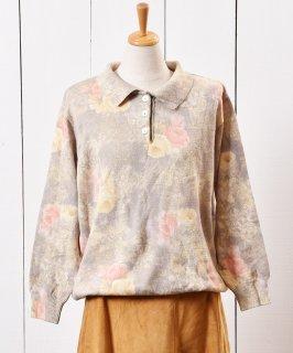 古着ドイツ製 花柄 ウールセーター シェルボタン グリーン 古着のネット通販 古着屋グレープフルーツムーン