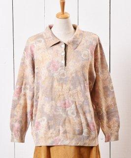 古着ドイツ製 花柄 ウールセーター シェルボタン イエロー 古着のネット通販 古着屋グレープフルーツムーン