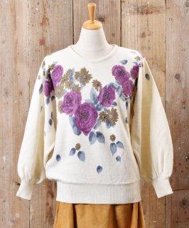 古着花柄 ビーズ プリントセーター 古着のネット通販 古着屋グレープフルーツムーン