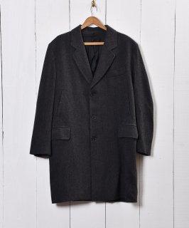 古着イタリア製 ヘリンボーン生地 ウールコート 古着のネット通販 古着屋グレープフルーツムーン