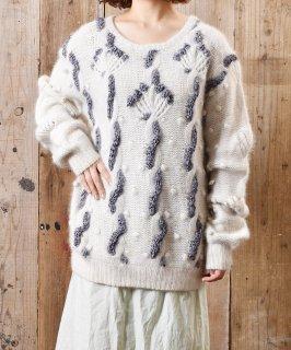 古着リボン編み込み アンゴラ セーター 古着のネット通販 古着屋グレープフルーツムーン