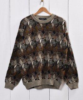 古着総柄 3Dジャガード セーター 古着のネット通販 古着屋グレープフルーツムーン