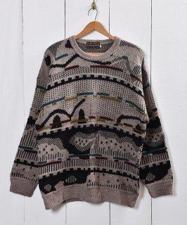 古着総柄 ジャガード セーター 古着のネット通販 古着屋グレープフルーツムーン