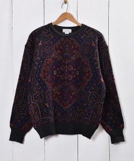 古着ペイズリー模様 総柄 ウール セーター 古着のネット通販 古着屋グレープフルーツムーン