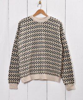古着チェック 3D ジャガードセーター 古着のネット通販 古着屋グレープフルーツムーン