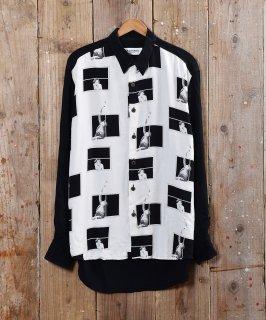 古着フランス製 デザイン プリントシャツ 古着のネット通販 古着屋グレープフルーツムーン