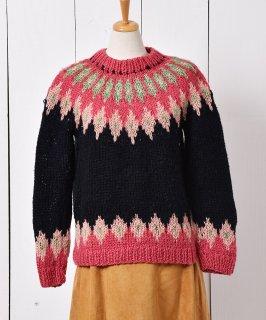 古着フェアアイルニット セーター ピンク×ブラック 古着のネット通販 古着屋グレープフルーツムーン