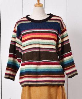 古着イタリア製 マルチカラー ストライプニット セーター 古着のネット通販 古着屋グレープフルーツムーン
