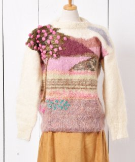 古着イングランド製 風景画風 モヘアニット デザインセーター 古着のネット通販 古着屋グレープフルーツムーン
