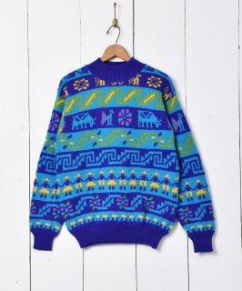 古着イタリア製 フェアアイルニット セーター ブルー 古着のネット通販 古着屋グレープフルーツムーン