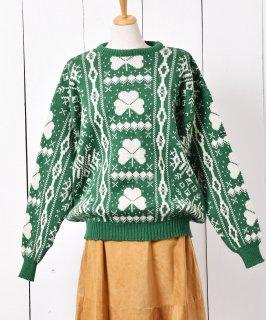 古着アイルランド製 ノルディックニット セーター クローバー 古着のネット通販 古着屋グレープフルーツムーン