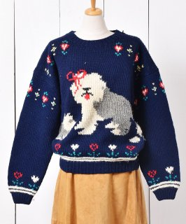 古着Woolrich 犬柄 デザインニットセーター 古着のネット通販 古着屋グレープフルーツムーン