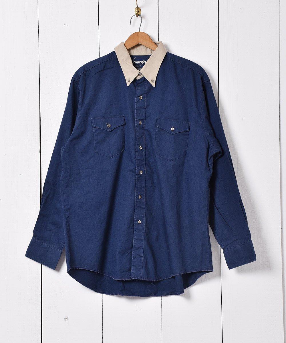 古着 切り替え ボタンダウンシャツ ネイビー×ベージュ 古着 ネット 通販 古着屋グレープフルーツムーン
