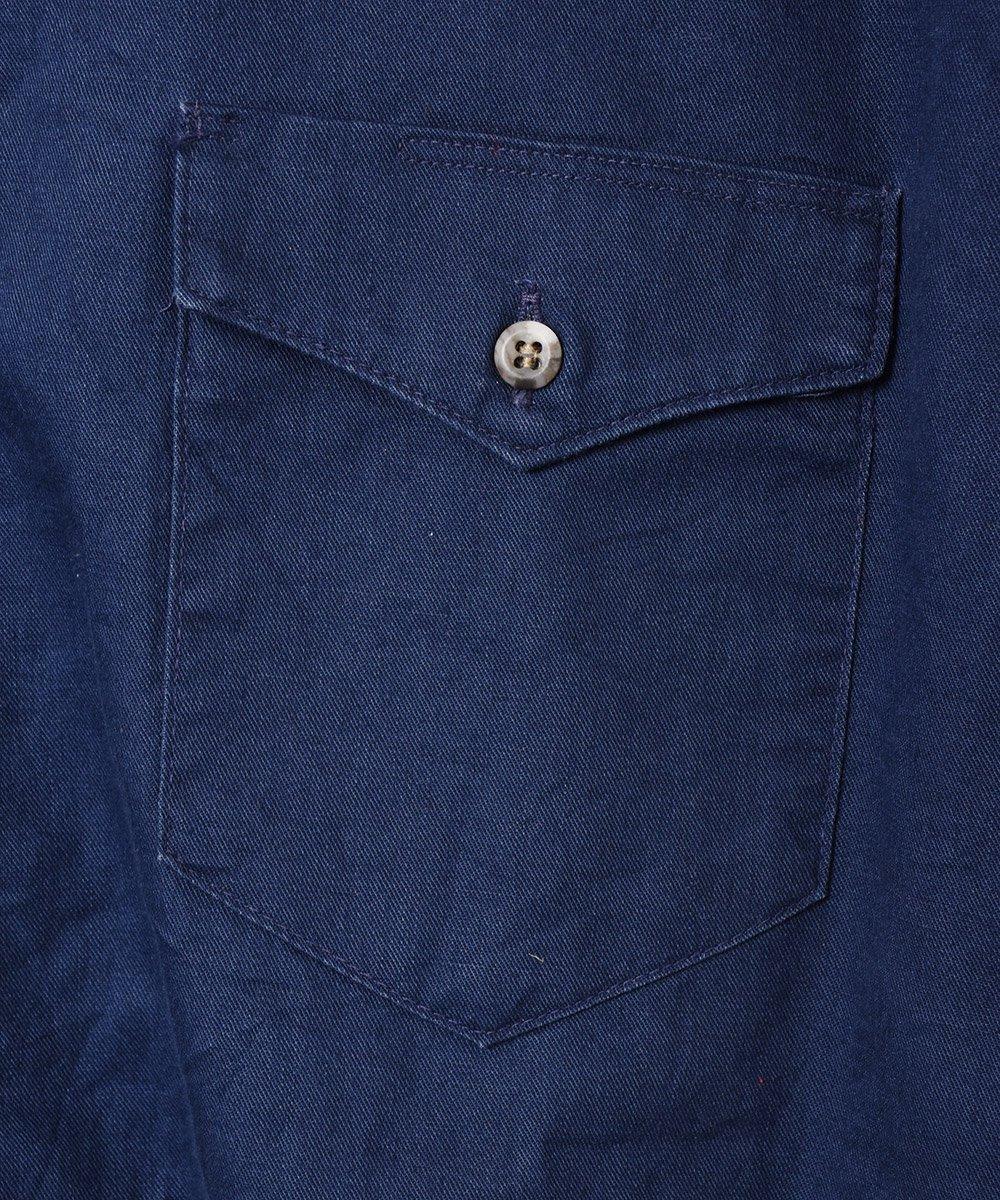 切り替え ボタンダウンシャツ ネイビー×ベージュサムネイル