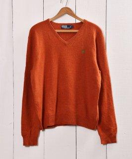 古着Polo by Ralph Lauren ラムウール ニットセーター オレンジ 古着のネット通販 古着屋グレープフルーツムーン