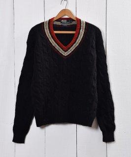 古着Polo by Ralph Lauren チルデンニットセーター ブラック 古着のネット通販 古着屋グレープフルーツムーン