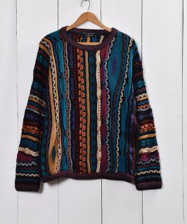 古着COGGI風 3D マルチデザインニットセーター  古着のネット通販 古着屋グレープフルーツムーン