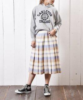古着イギリス製 チェック プリーツ ウールスカート 古着のネット通販 古着屋グレープフルーツムーン