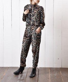 古着豹柄 スタンド襟 オールインワン 古着のネット通販 古着屋グレープフルーツムーン
