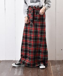 古着アメリカ製 チェック柄 ウール マキシ丈 スカート 古着のネット通販 古着屋グレープフルーツムーン
