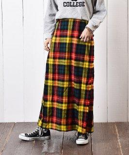 古着ヨーロッパ製 ウール チェック柄 ラップスカート 古着のネット通販 古着屋グレープフルーツムーン