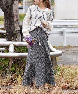 古着ギンガムチェック ベルトリボン付き ロングスカート 古着のネット通販 古着屋グレープフルーツムーン
