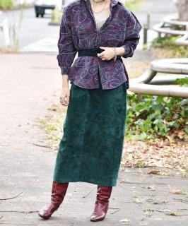 古着グリーン レザー ロングスカート 古着のネット通販 古着屋グレープフルーツムーン