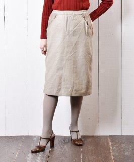 古着グレージュカラー レザースカート 古着のネット通販 古着屋グレープフルーツムーン