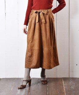 古着ウエストリボン 切り替え レザースカート 古着のネット通販 古着屋グレープフルーツムーン
