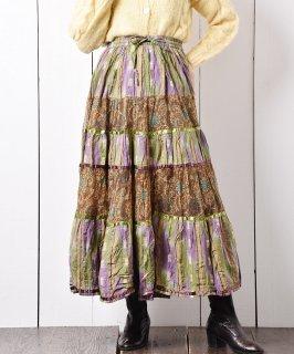 古着インド製 ガテマラ織り 切り替え ティアードスカート 古着のネット通販 古着屋グレープフルーツムーン