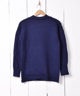 古着イギリス製 ガーンジーセーター フィッシャーマンセーター ネイビー系 古着のネット通販 古着屋グレープフルーツムーン