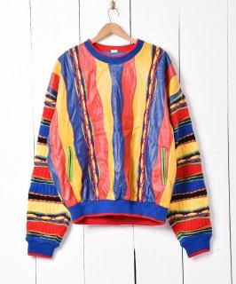 古着マルチカラー レザー×ニット切り替え クルーネック 3Dニット セーター 古着のネット通販 古着屋グレープフルーツムーン