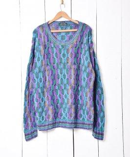 古着マルチカラー クルーネック 3D ニット セーター 古着のネット通販 古着屋グレープフルーツムーン