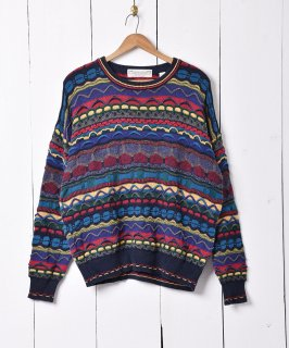 古着マルチカラー 90'sライク 3Dニット セーター 古着のネット通販 古着屋グレープフルーツムーン