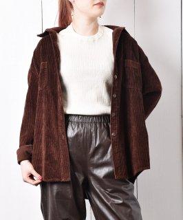 古着コーデュロイ ロングスリーブ シャツ チョコレートカラ— 古着のネット通販 古着屋グレープフルーツムーン