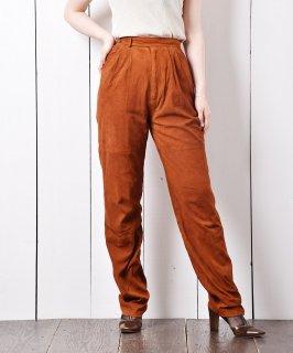 古着スウェード タックパンツ テラコッタカラ— 古着のネット通販 古着屋グレープフルーツムーン